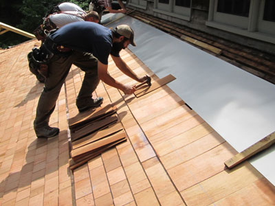 Installation of Cedar Roofing